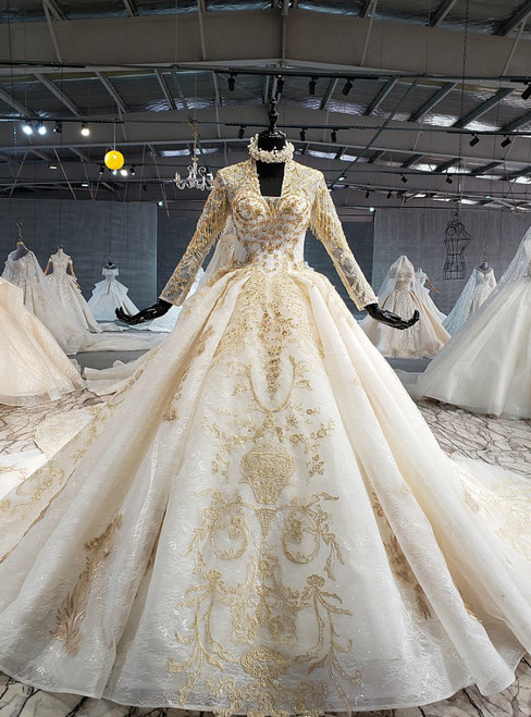Champagne Ball Gown Tulle Appliques Long Sleeve Wedding Dress With Removable Train