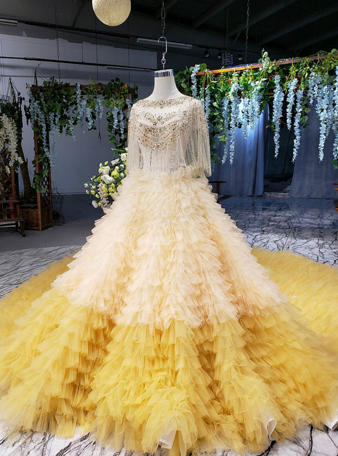 Yellow Ball Gown Tulle Tiers Cap SLeeve Backless Beading Wedding Dress With Shawl