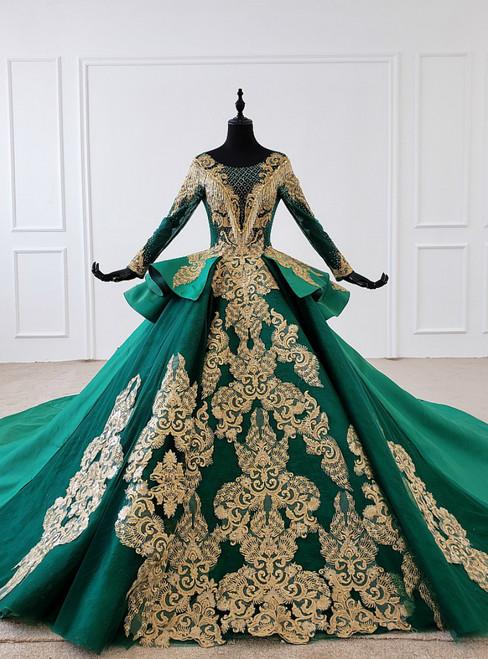 Green Bll Gown Satin Gold Appliques Long Sleeve Backless Wedding Dress