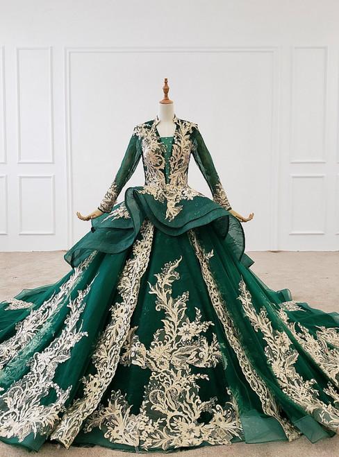 Dark Green Ball Gown Tulle Appliques V-neck Long Sleeve Wedding Dress