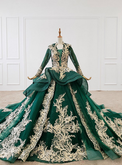 Dark Green Ball Gown Tulle Appliques V-neck Long Sleeve Wedding Dress