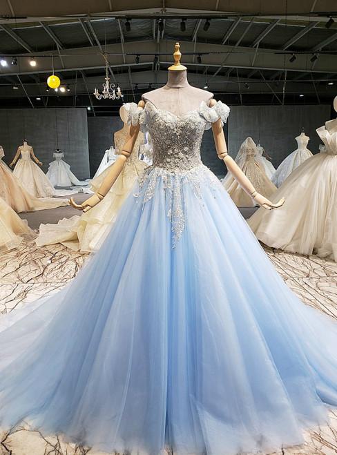 Sky Blue Tulle Off the Shoulder Beading Sequins Wedding Dress