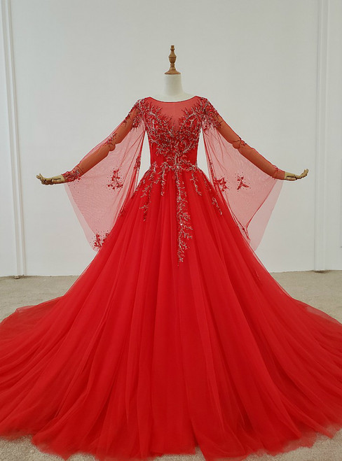 Red Ball Gown Tulle Long Sleeve Beading Sequins Wedding Dress