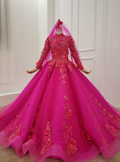 Fuchsia Ball Gown High Neck Long Sleeve Appliques Beading Wedding Dress