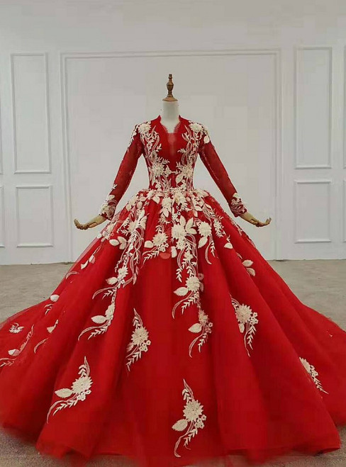 Red Ball Gown Tulle Appliques Long Sleeve Beading Wedding With Train