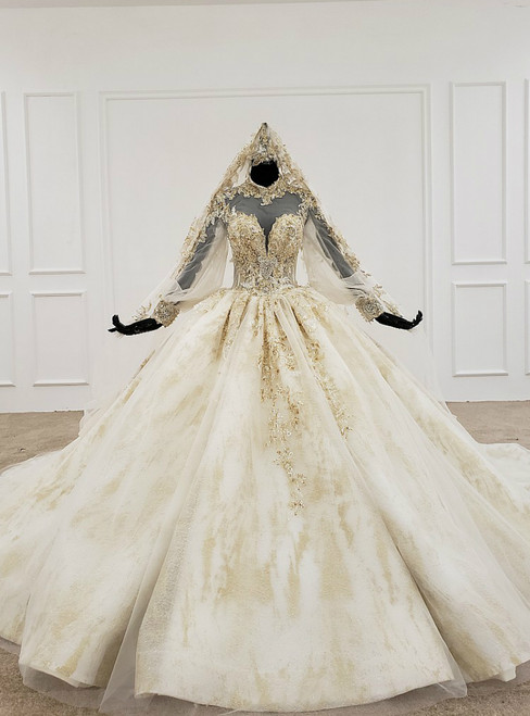 Champagne Ball Gown Tulle Appliques High Neck Long Sleeve Backless Wedding Dress