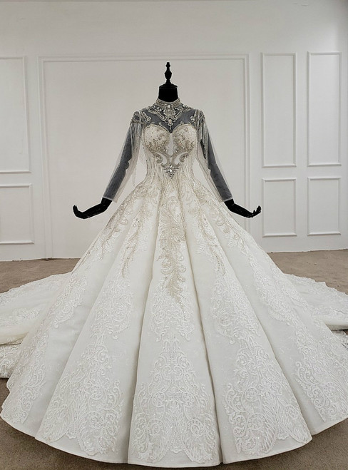 White Ball Gown Lace Appliques High Neck Beading Crystal Wedding Dress