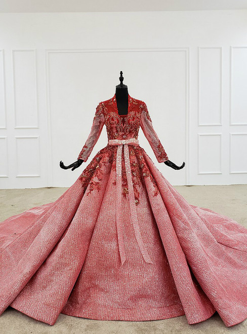 Watermelon Red Ball Gown Sequins V-neck Long Sleeve Beading Wedding Dress