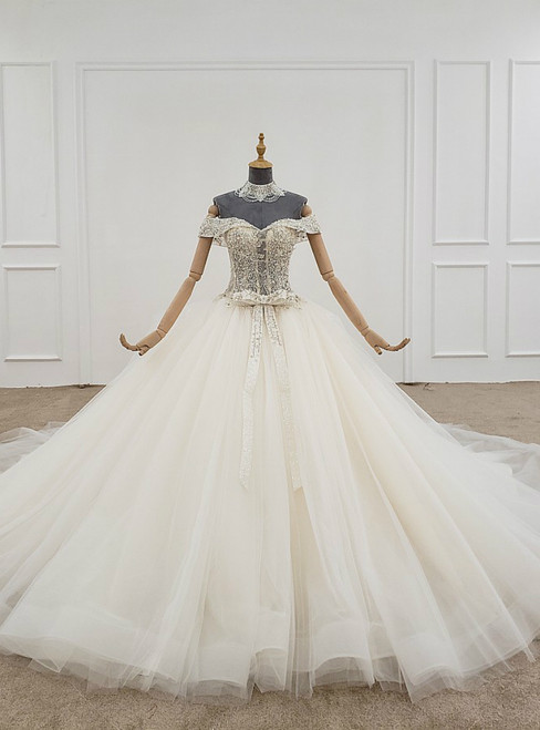 Ivory White Ball Gown Tulle Off the Shoulder Beading Wedding Dress