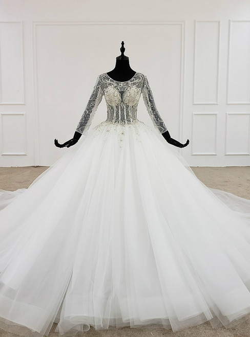 White Ball Gown Tulle Long Sleeve Backless Beading Crystal Wedding Dress