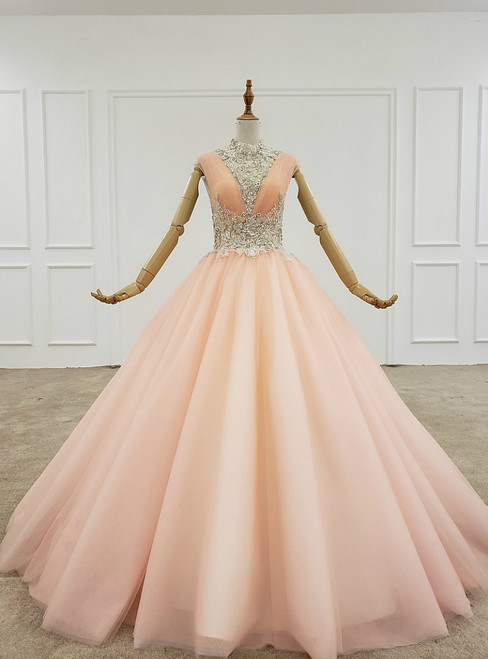 Orange Ball Gown Tulle Pleats Backless High Neck Beading Crystal Wedding Dress