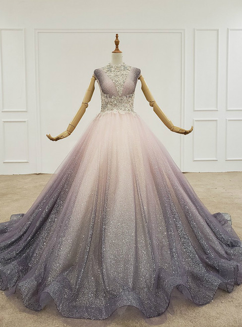 Light Purple Ball Gown Tulle Sequins Pleats Wedding Dress With Beading Crystal