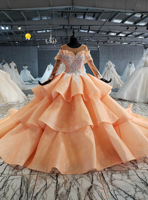 Orange Ball Gown Tulle Long Sleeve Tiers Beading Crystal Wedding Dress
