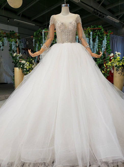 White Ball Gown Tulle Long Sleeve Bateau Backless Beading Crystal Wedding Dress