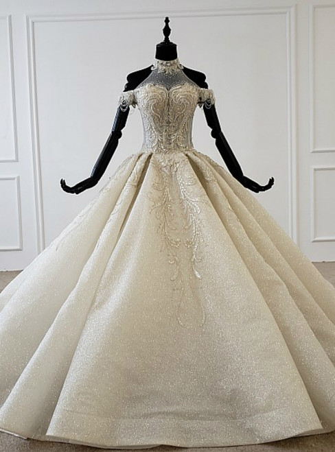 Champagne Ball Gown Tulle Sequins Halter Beading Wedding Dress