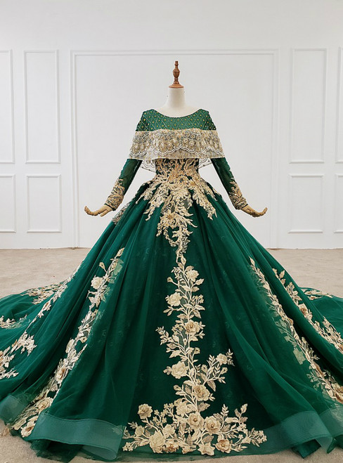 Green Ball Gown Tulle Appliques Beading Sequins Wedding Dress