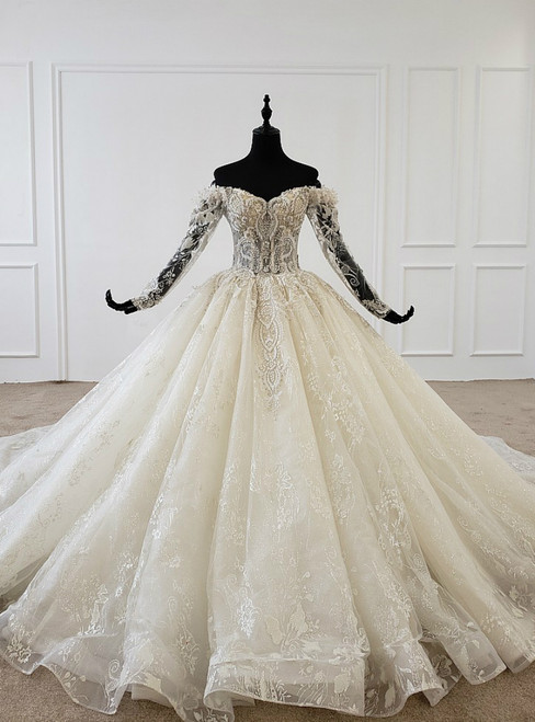 Champagne Tulle Appliques Off the Shoulder Long Sleeve Wedding Dress