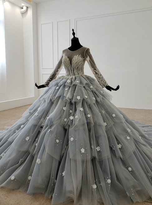 Gray Ball Gown Tulle Tiers Long Sleeve Appliques Beading Wedding Dress