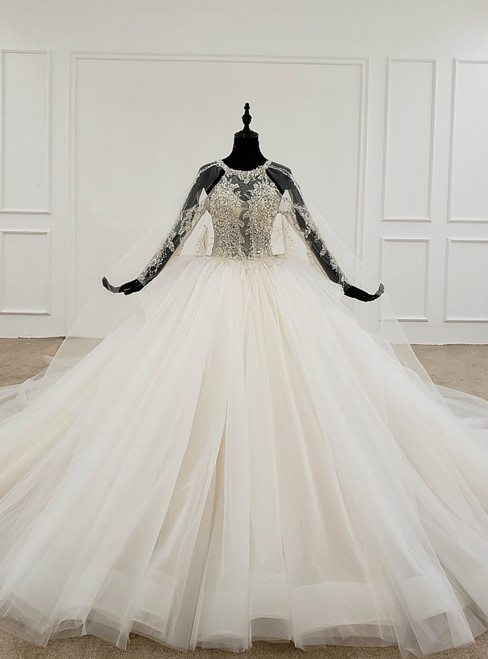 Ivory White Ball Gown Tulle Halter Backless Beading Pearls Wedding Dress