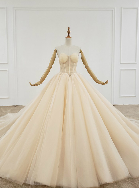 Champagne Ball Gown Tulle Sweetheart Pleats Wedding Dress
