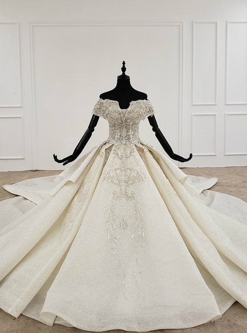 Luxury Champagne Ball Gown Tulle Off the Shoulder Beading Crystal Wedding Dress