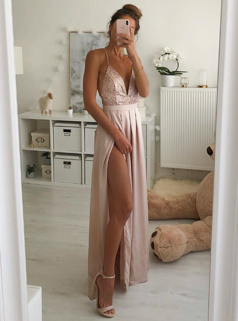 A-Line Pink Chiffon Sequins V-neck Backless Prom Dress With Side Split