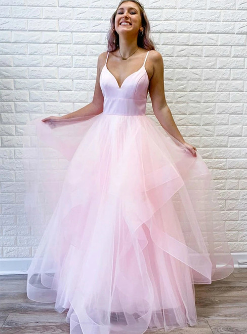 A-Line Pink Tulle V-neck Sleeveless Long Prom Dress