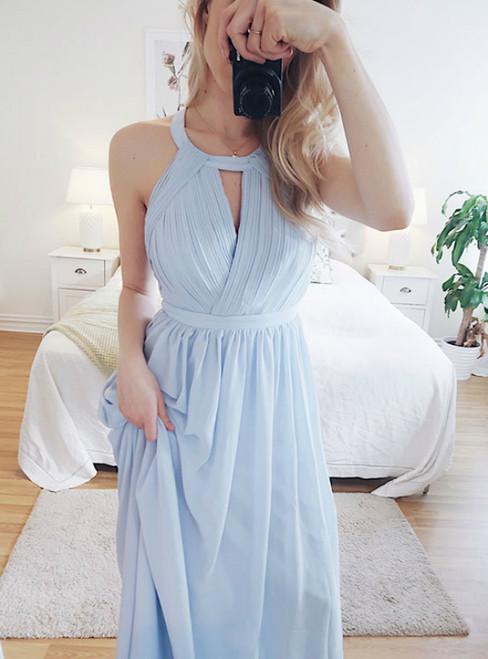 A-Line Light Blue Chiffon Pleats Halter Backless Prom Dress