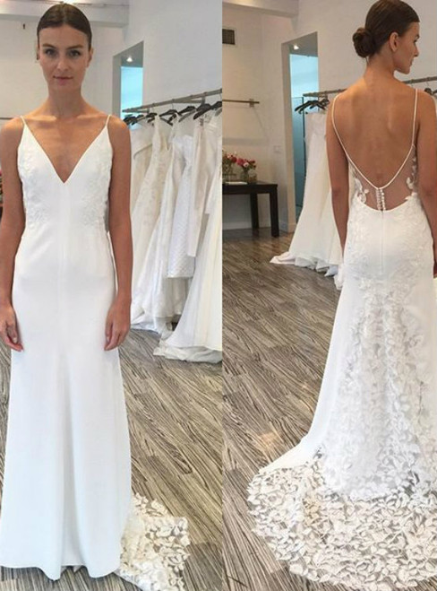 Gorgeous V-neck Spaghetti Straps Wedding Gowns Long Wedding Dress