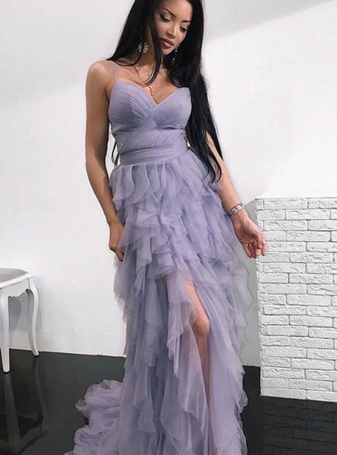 A-Line Purple Tulle Spaghetti Straps Pleats Prom Dress