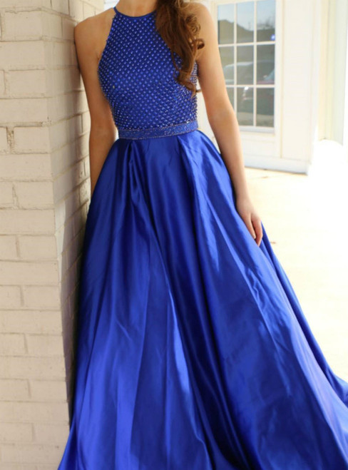 A-Line Royal Blue Satin Halter Beading Prom Dress With Pocket