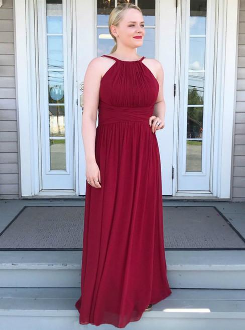 A-Line Burgundy Chiffon Halter Pleats Long Prom Dress