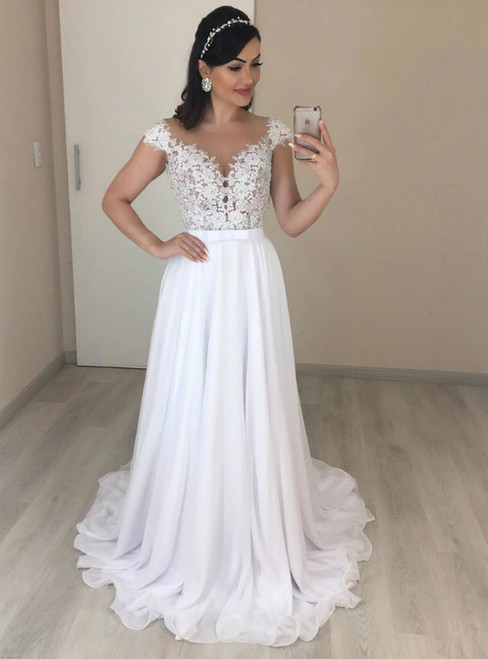 A-Line White Chiffon Lace Cap Sleeve See Through Back Beach Wedding Dress
