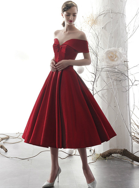 A-Line Burgundy Satin Off the Shoulder Tea Length Short Prom Dress
