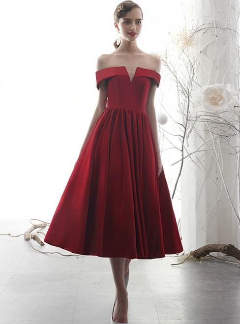 Simple A-Line Burgundy Satin Off the Shoulder Short Prom Dress