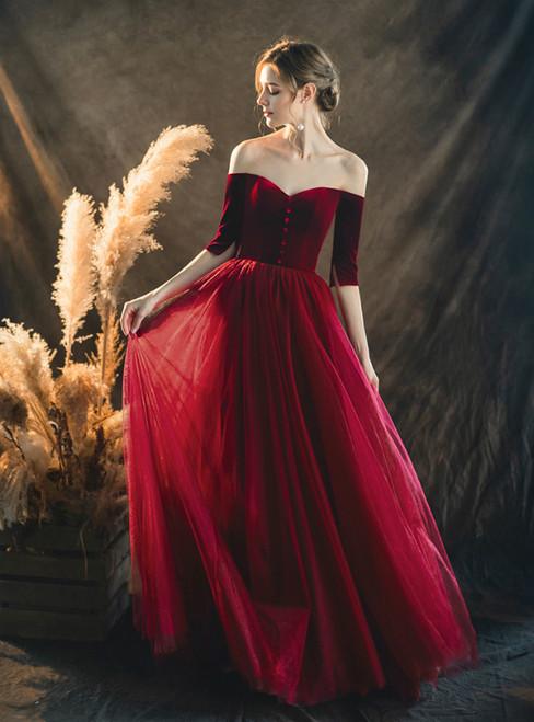 Dark Burgundy Velvet Tulle Off the Shoulder Short Sleeve Prom Dress