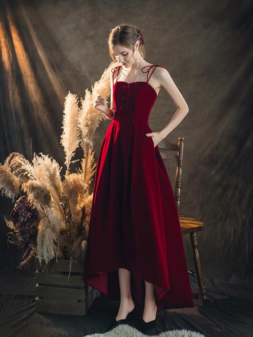 Dark Burgundy Velvet Spagehtti Straps Hi Lo Prom Dress