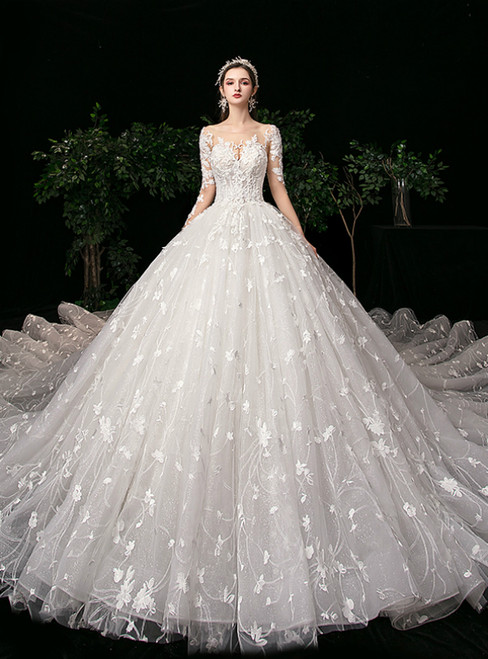 Ivory White Ball Gown Tulle Flower Long Sleeve Wedding Dress