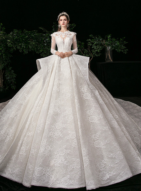 Ivory White Lace Laong Sleeve Backless Appliques Wedding Dress