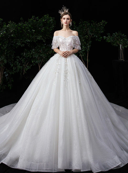 Ivory White Ball Gown Tulle Off the Shouder Appliques Beading Wedding Dress
