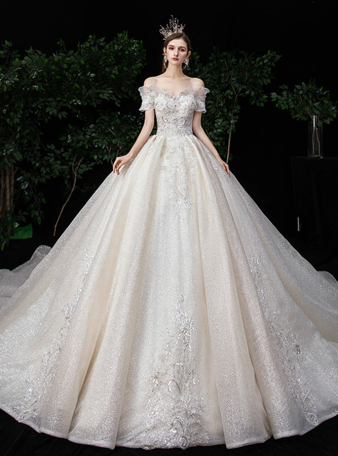 Champagne Ball Gown Tulle Off the Shoulder Beading Wedding Dress