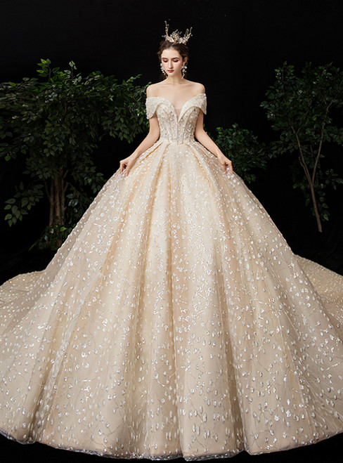 Champagne Tulle Sequins Off the Shoulder Wedding Dress With Train