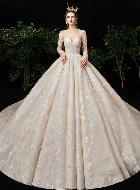 Champagne Ball Gown Tulle Long Sleeve Backless Beading Wedding Dress