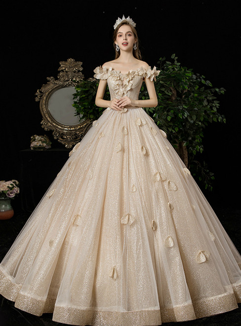 Dark Champagne Ball Gown Sequins Off the Shoulder Wedding Dress