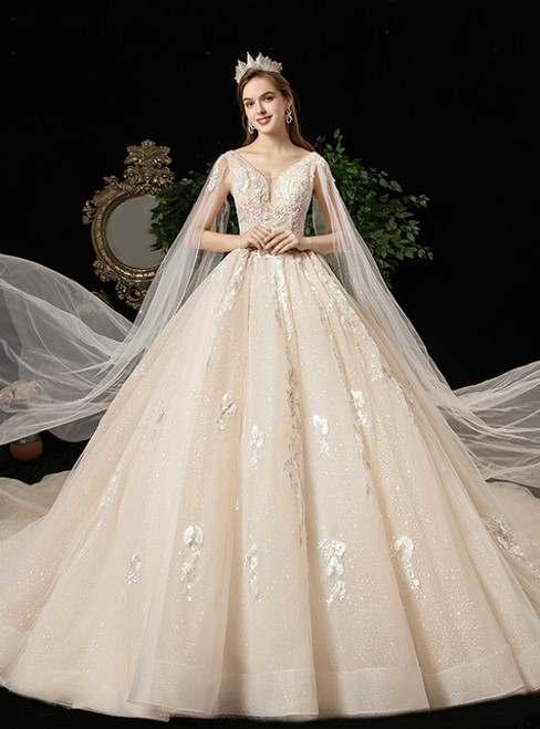 Champagen Ball Gown Tulle Deep V-neck Appliques Beading Wedding Dress