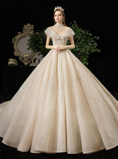 Champagne Ball Gown Sequins High Neck Backless Appliques Wedding Dress