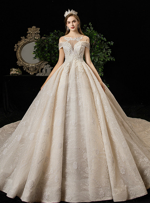 Champagne Ball Gown Tulle Sequins Backless Beading Wedding Dress