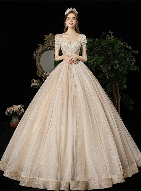 Dark Champagne Tulle Sequins V-neck Short Sleeve Beading Wedding Dress