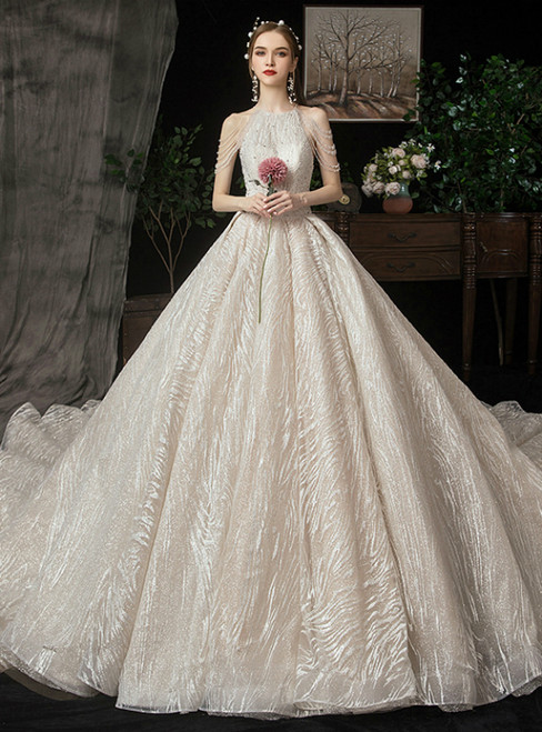 Champagne Tulle Sequins Halter Beading Wedding Dress With Train