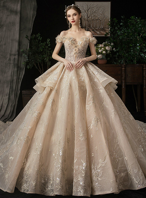 Dark Champagne Tulle Embroidery Off the Shoulder Wedding Dress With Beading